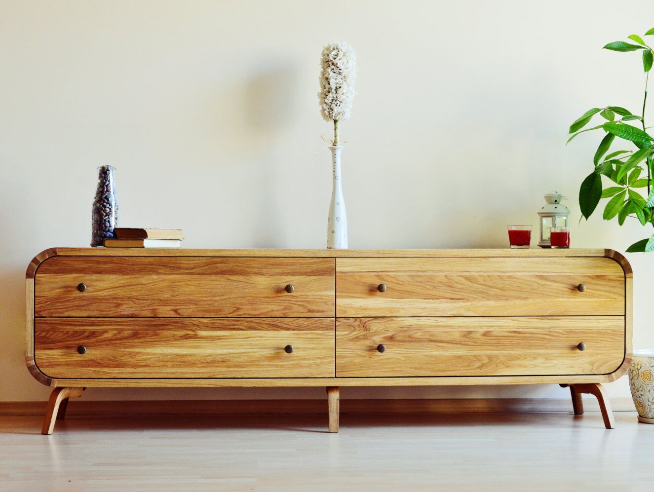 Dresser Commode Chest Of Drawers Oak Solid Board Modern Furniture  Scandinavian Design Luxury Hand Made Wood Cabinet TV Console Low Cabinet