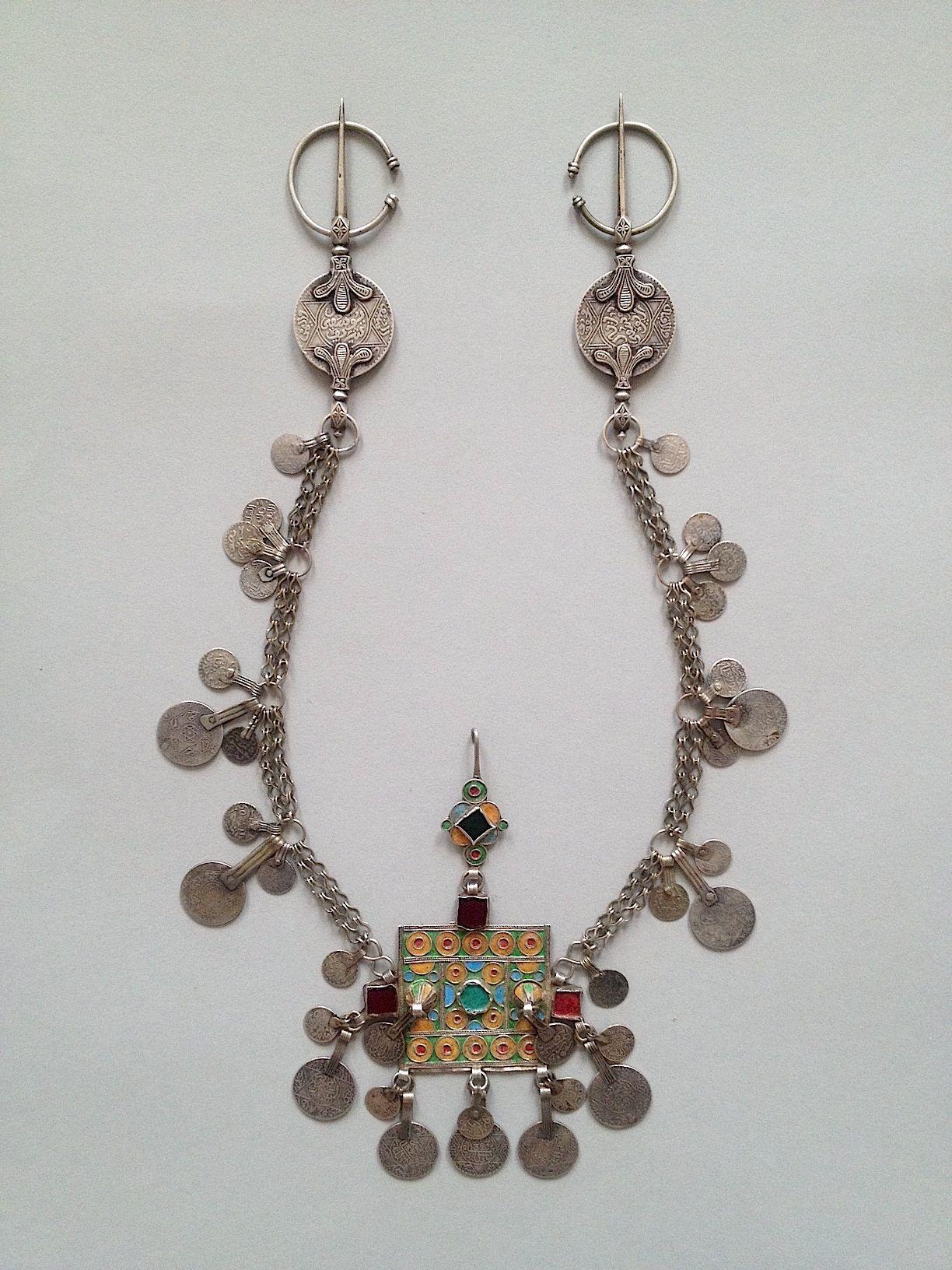 Morocco, Tiznit, Ida Ou Semlal people. Fibulae. Silver, glass and enamel