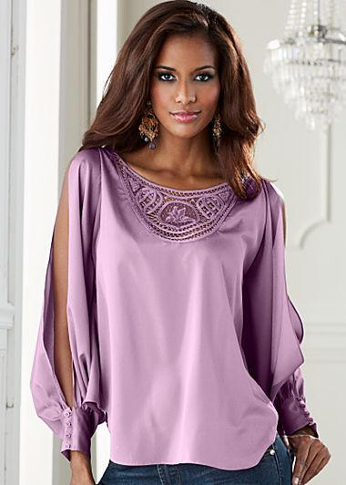 083d156f48cc5f Light Violet Crochet Applique Blouse   Sweet  N  Sexy