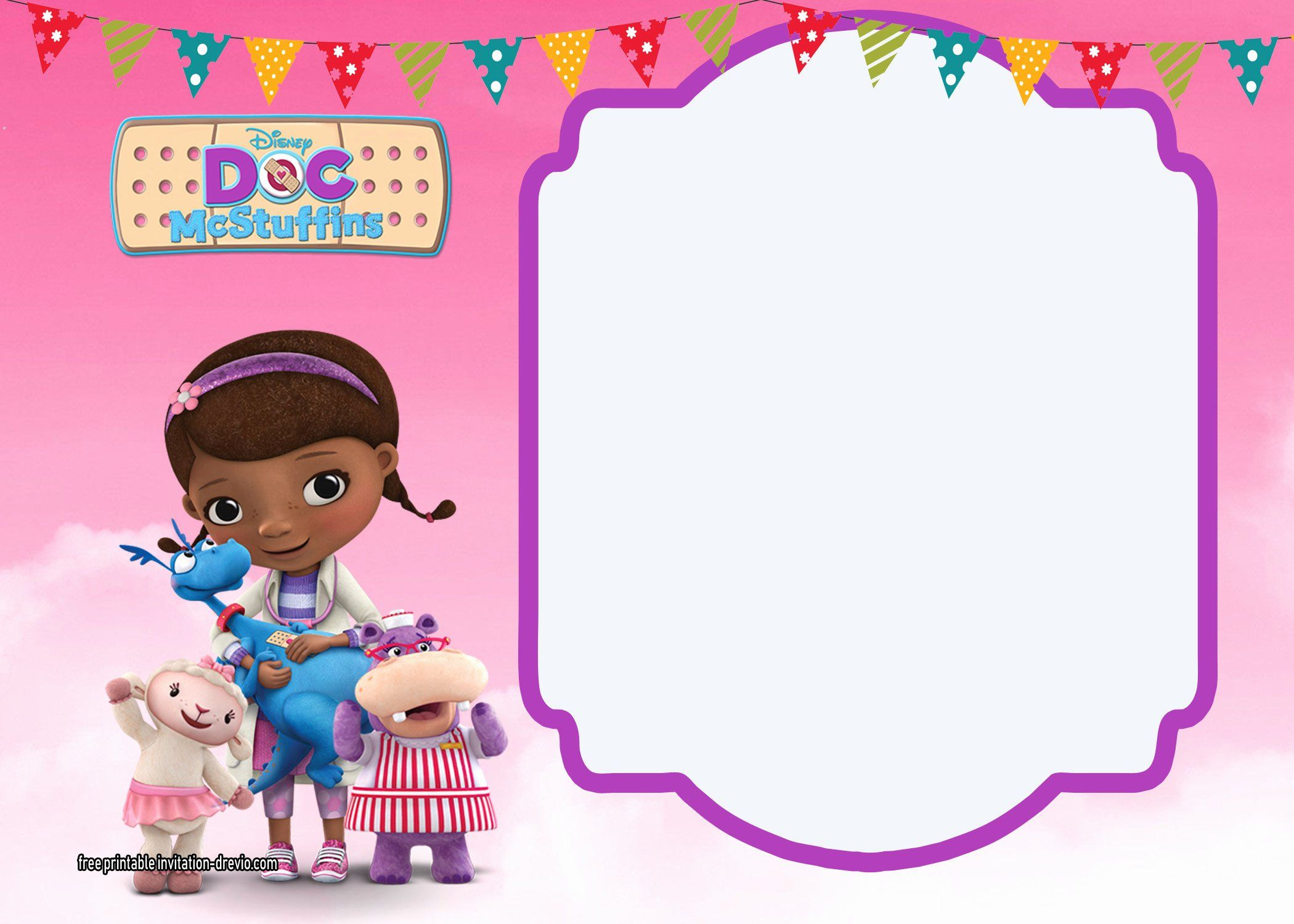 It's just a picture of Ambitious Doc Mcstuffins Printable Invitations
