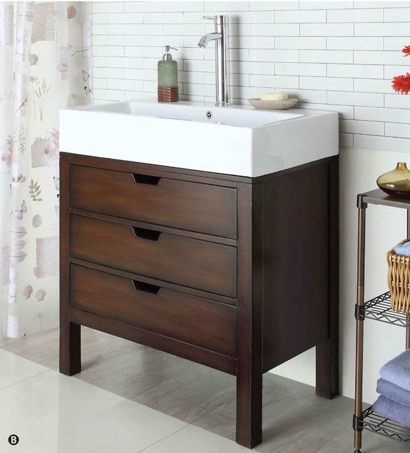 Tillie Cherry Contemporary 3-Drawer Farmhouse Vanity Sink Cabinet ...