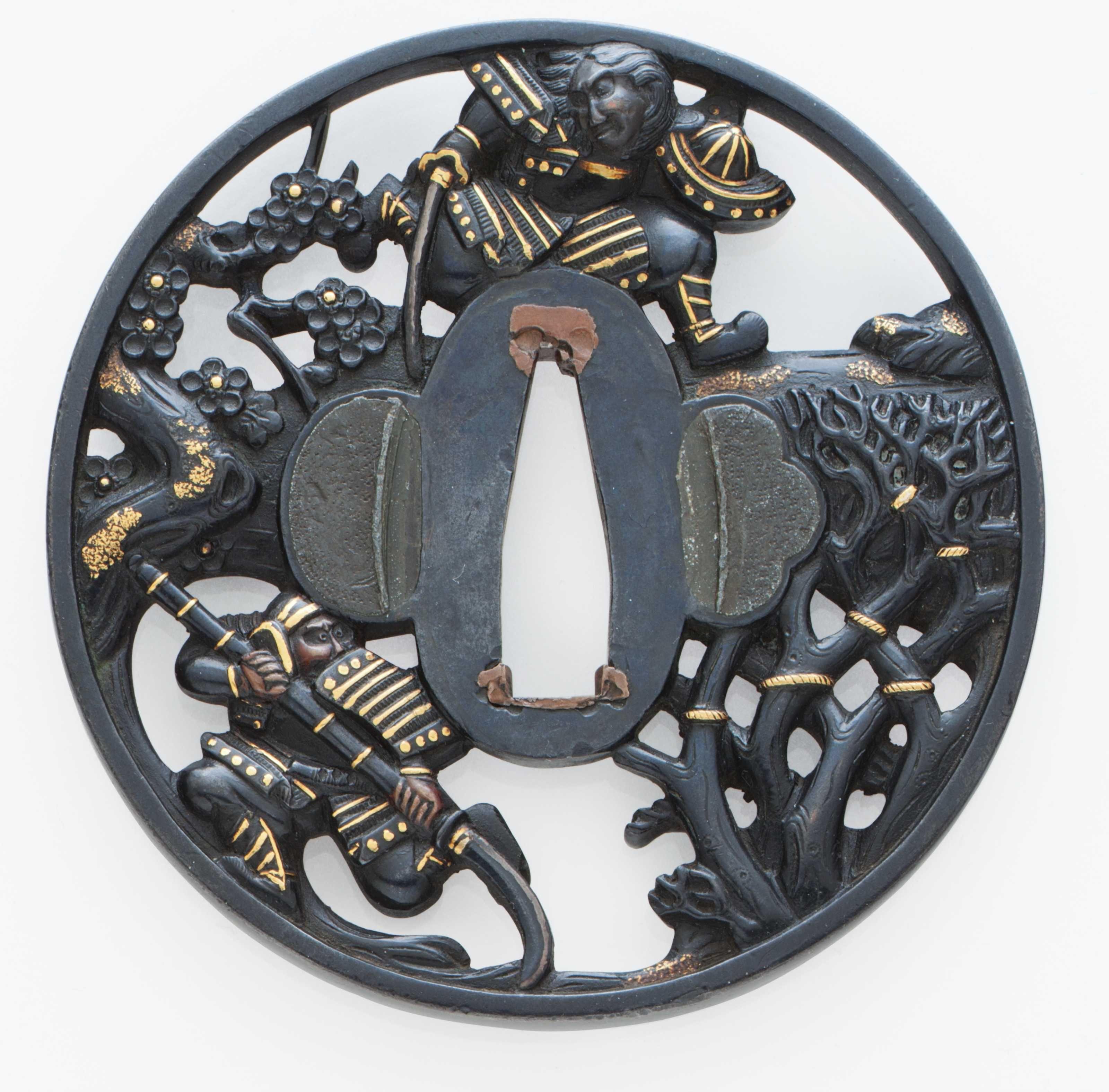 A Soten-style shakudo tsuba, Edo period (19th Century) https://pccdn.perfectchannel.com/christies/live/images/item/JapaneseSamurai3832/5851889/original/NYR_3832_0001.jpg
