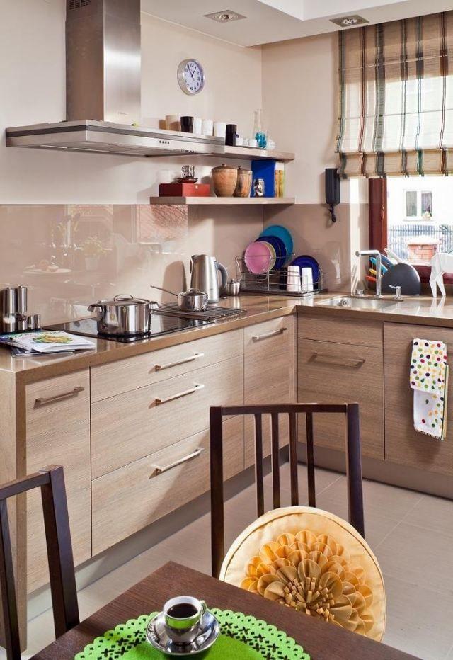 Wandfarbe Küche Creme Beige Holzschränke