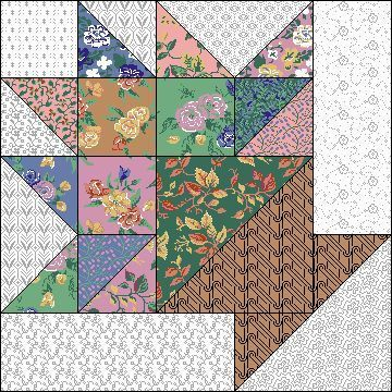 "flower basket quilt block | ... quilt block | Flower Basket 10"" block 