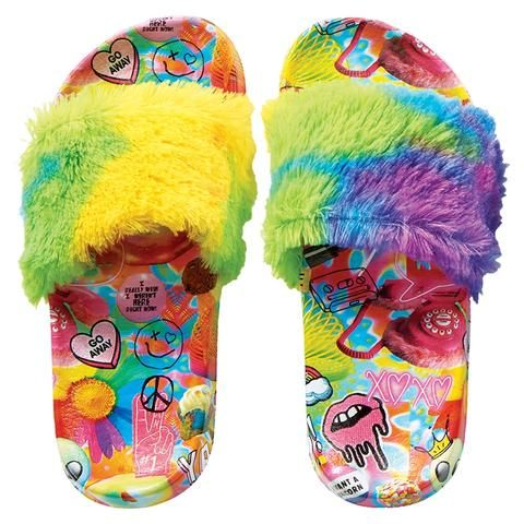 NEW Girls Footbed Sandals Large 2-3 Faux Fur Rainbow Colorful Slides Shoes
