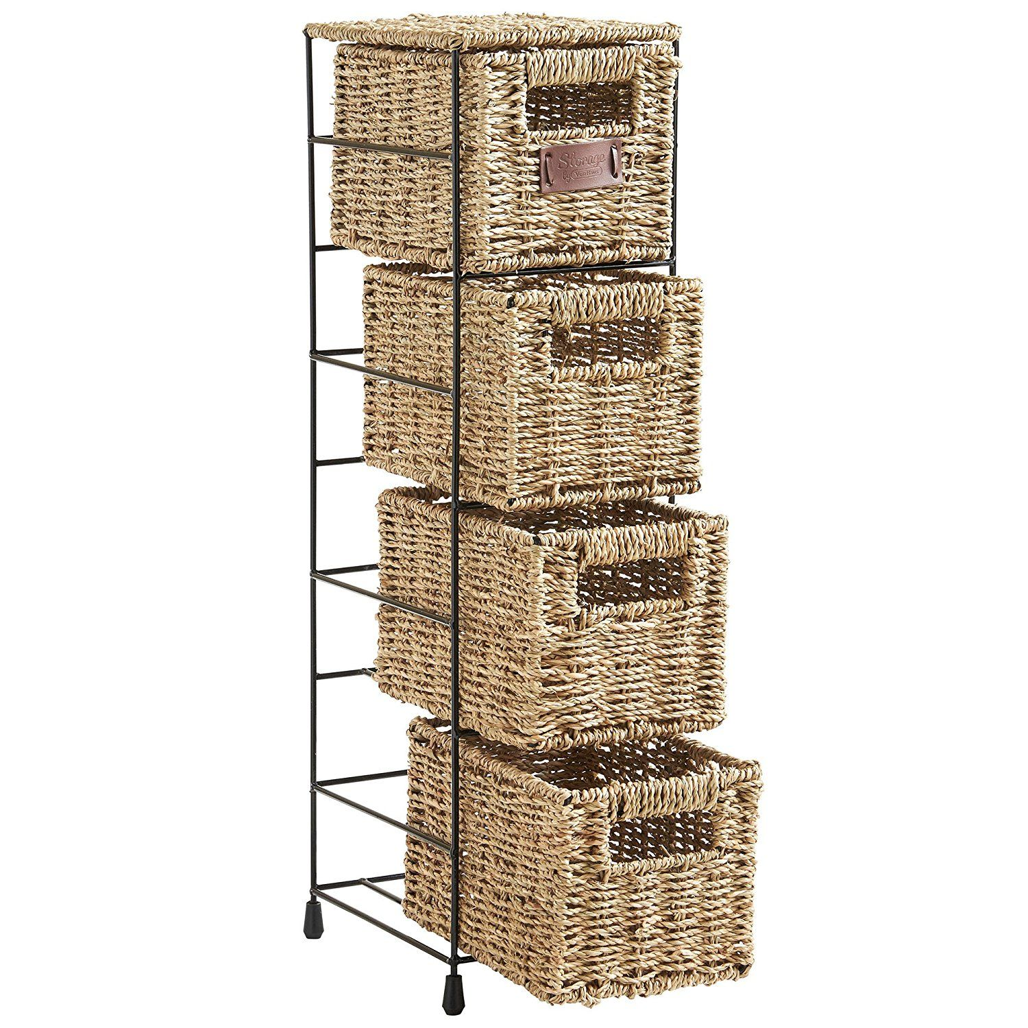 37 Vonhaus 4 Tier Small Seagrass Basket Storage Tower Unit With Metal Frame Ideal For Small Bathrooms 25 4 Storage Baskets Bathroom Storage Units Storage