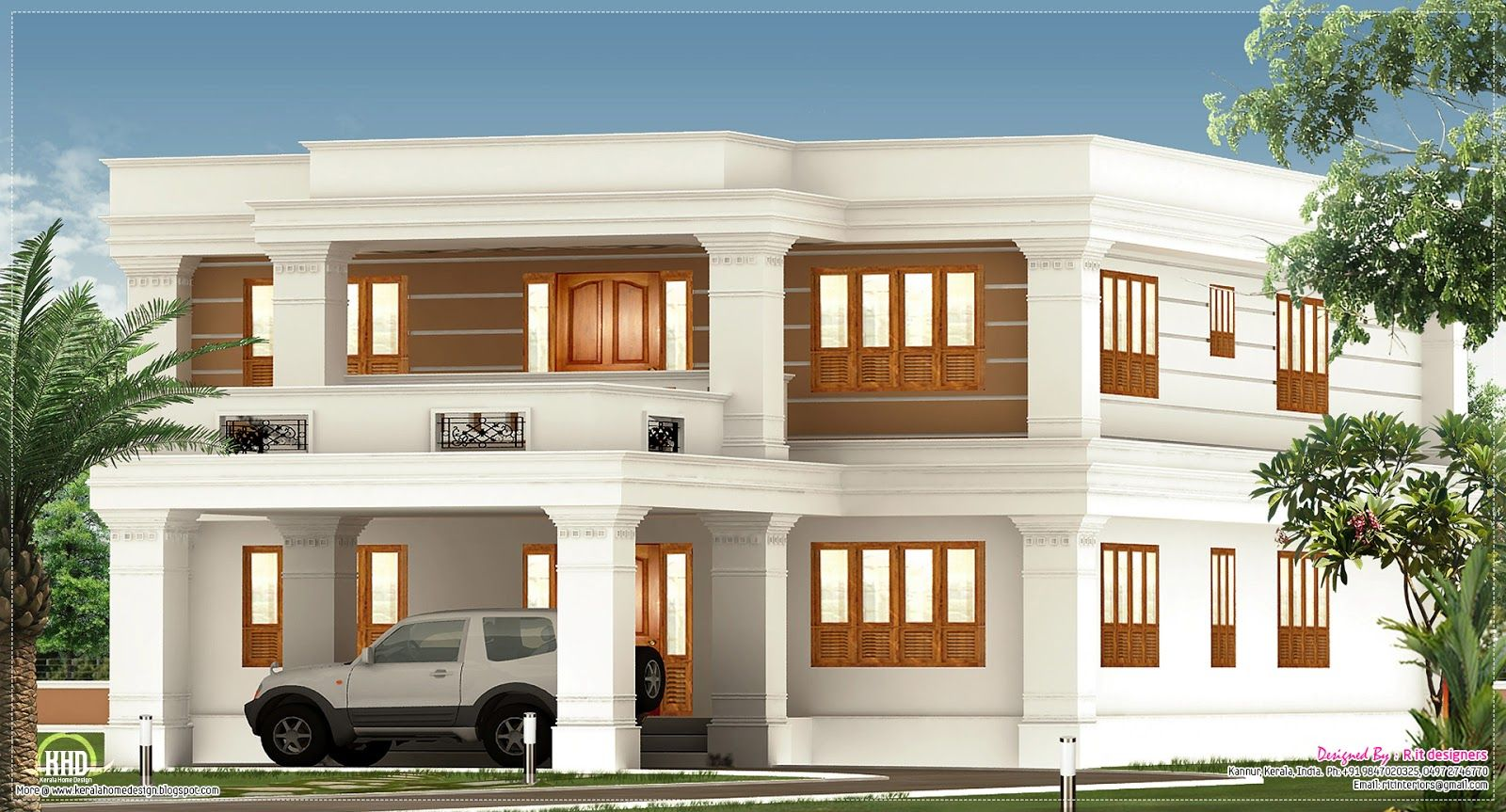 Flat roof villa exterior home ideas house design plans photos roof design plans hip roof garage