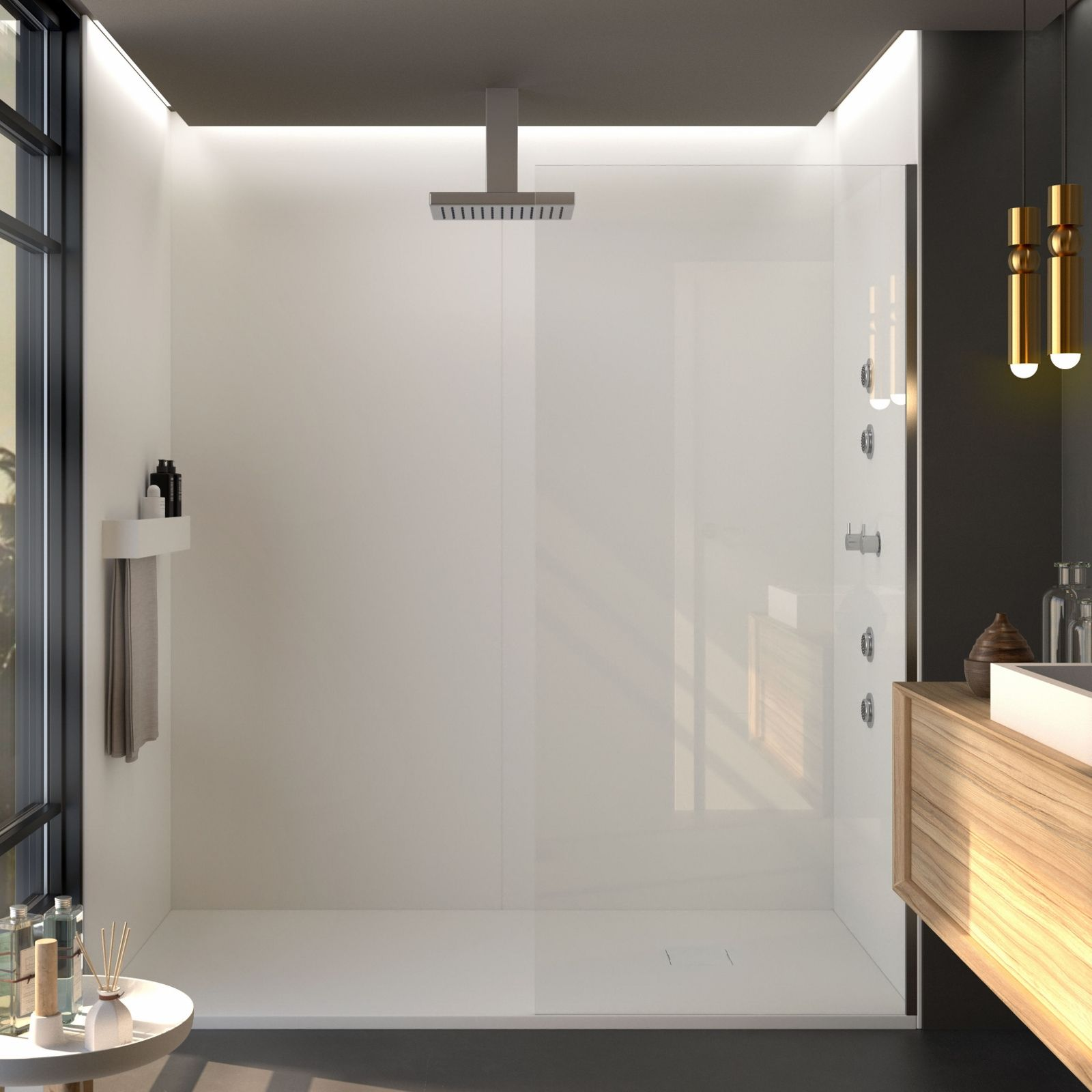 Dusche Ruckwand Fliesenersatz Mineralguss Liso Seda In 2020 Dusche Duschruckwand Badezimmer Design