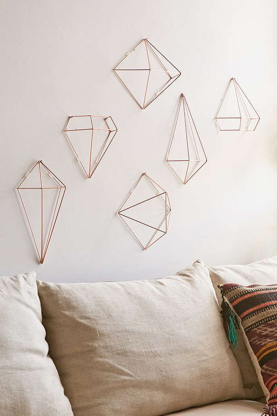 Himmeli style copper decorations set - Wall decoration ideas for bedrooms ...
