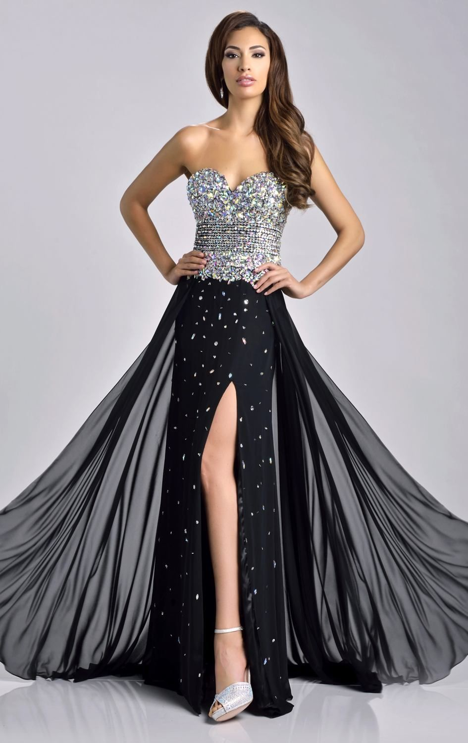 Long black strapless sweetheart neckline prom dress with lots of