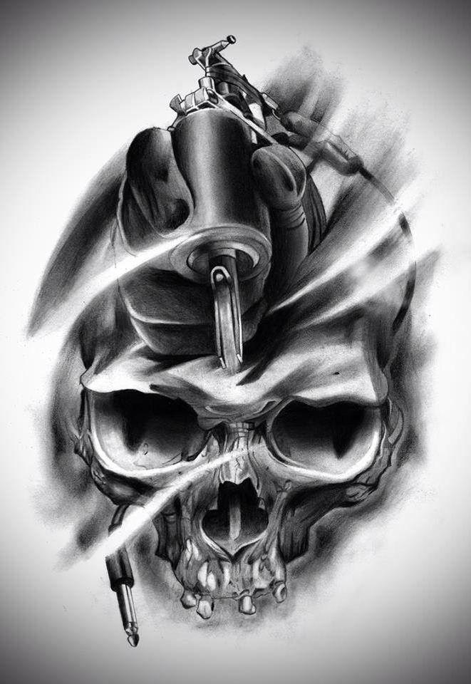 Skull Tattoo Gun Tattoo Ideas Pinterest Tattoos Tattoo