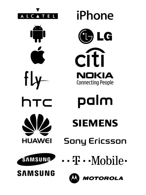 Free Logo Vector Brands Alcatel, iPhone, Android, LG, Apple