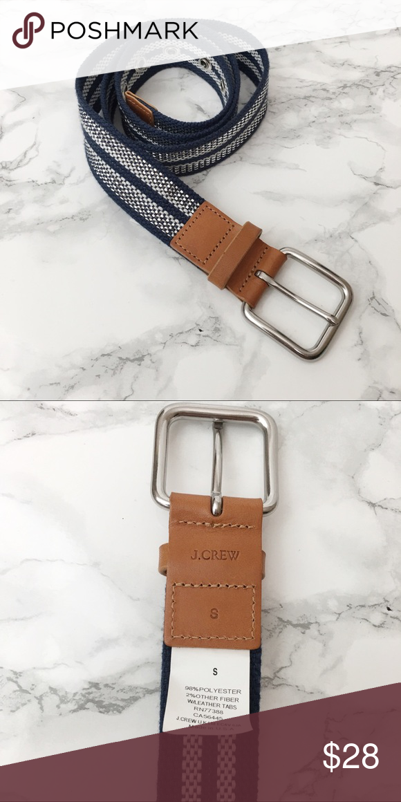 J. Crew Navy Silver Woven Leather Trim Belt Sturdy webbing in a pretty stripe turns outfits into con...