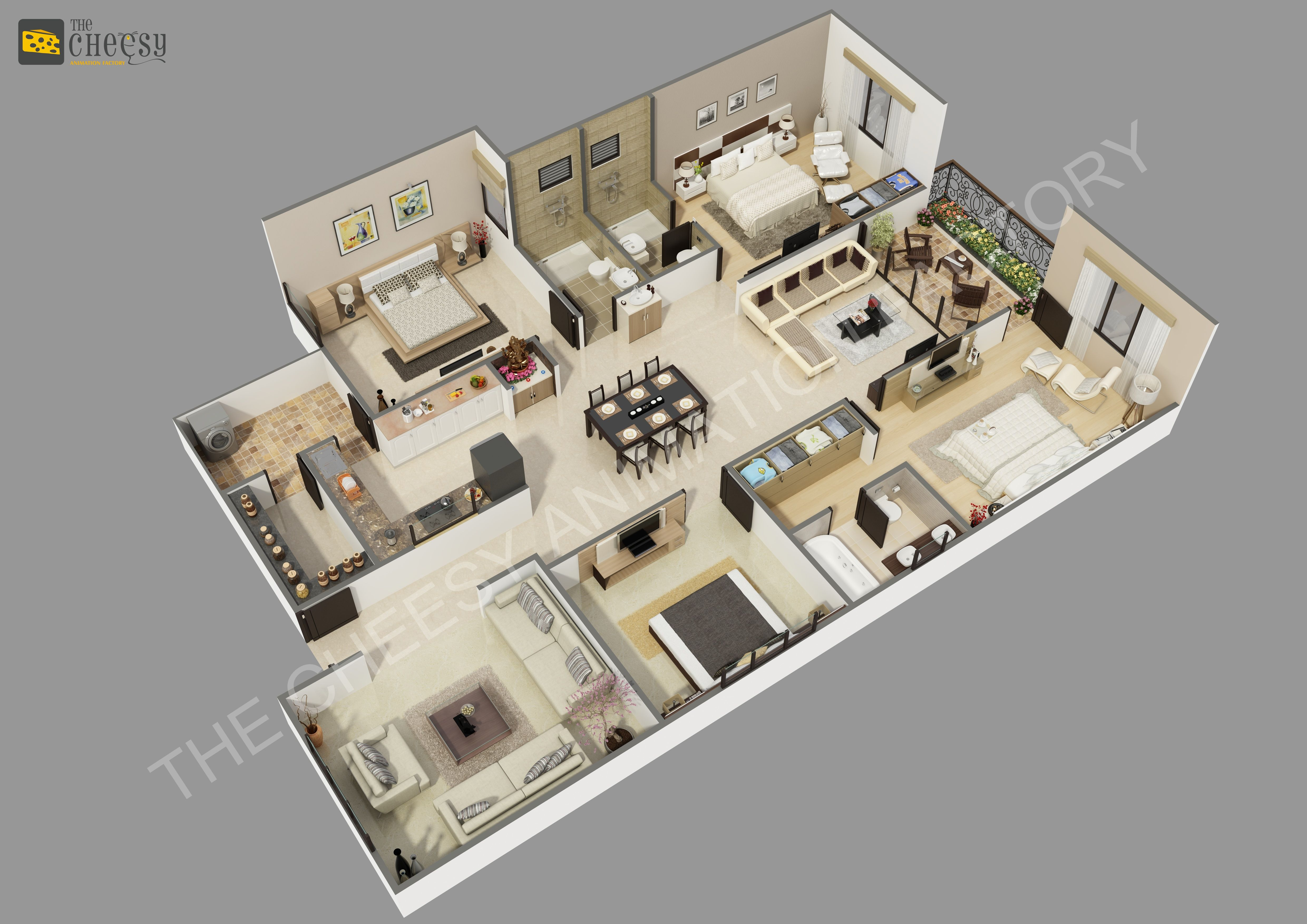 The Cheesy Animation Studio 2d And 3d Floor Plan Rendering