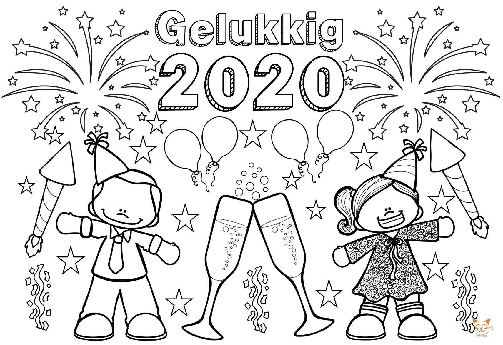 Blockposter Gelukkig 2020 Nieuwjaarsknutsels Nieuwjaar Kleurplaten