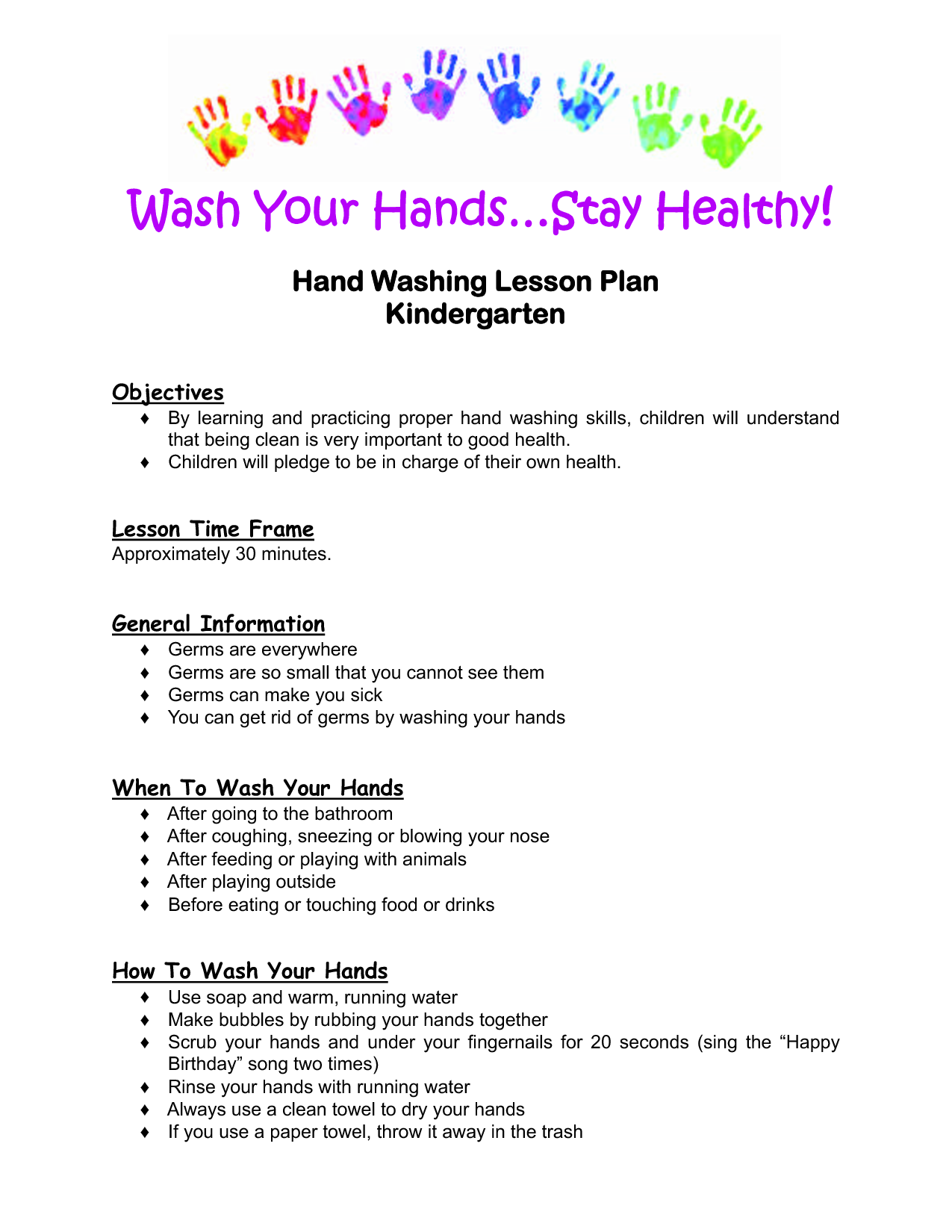 Kindergarten Lesson Plan  Hand Washing Lesson Plan Kindergarten