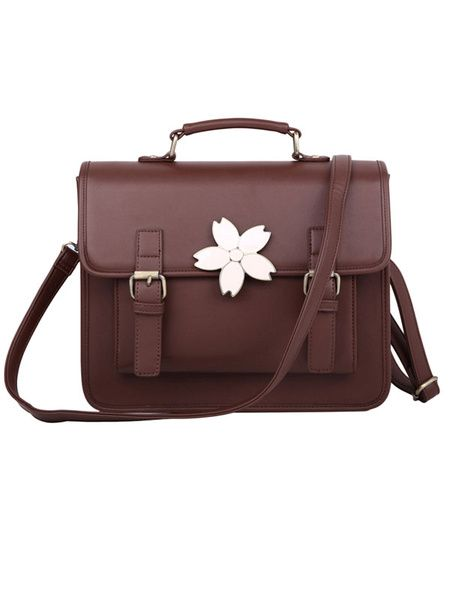 35765f7c97f9 Vintage Brown Black Lolita Handbag Messenger Bag Sakura Decor Leather