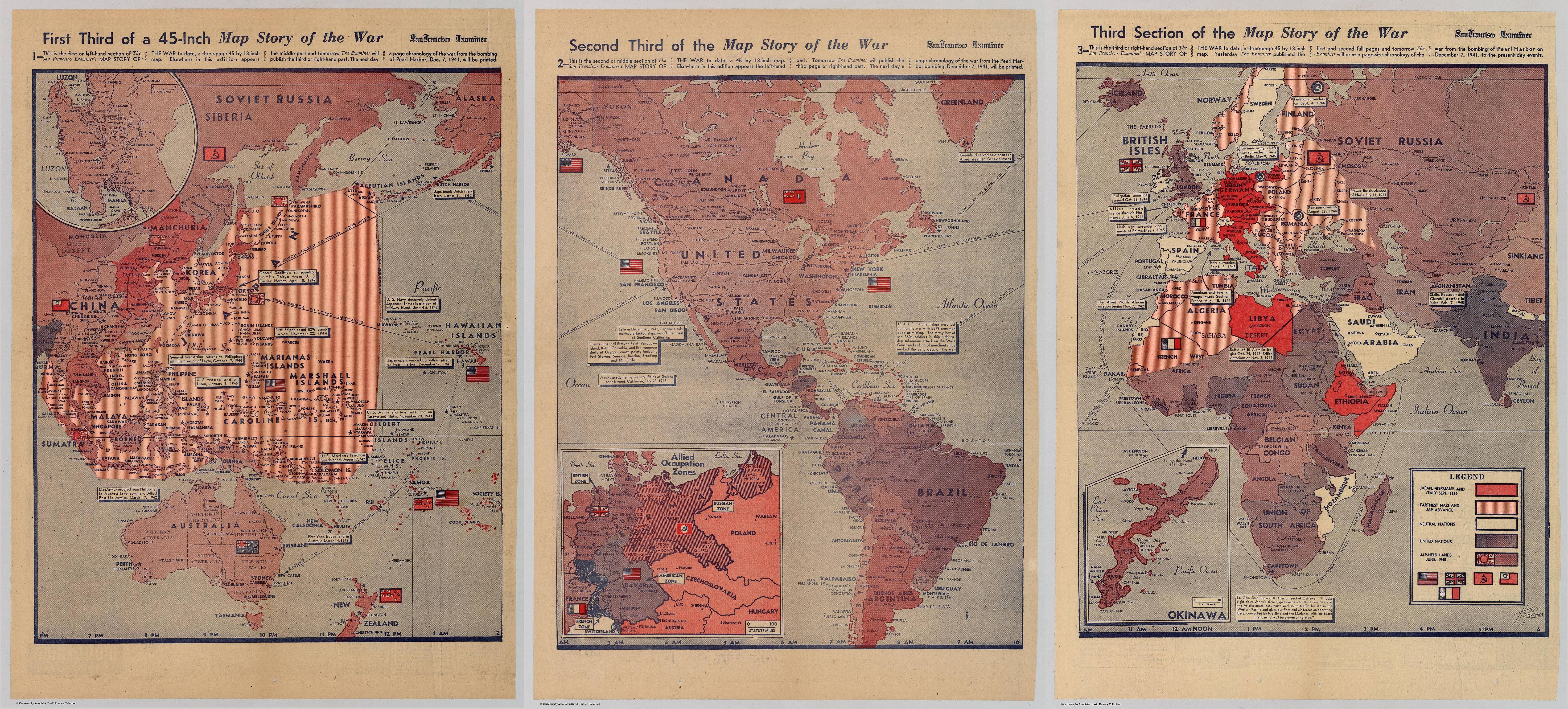 History of world war ii a 3 sheet map published in the san history of world war ii a 3 sheet map published in the san francisco gumiabroncs Choice Image