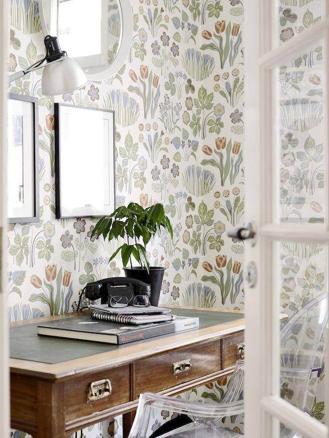 Charmant Modern Floral Wallpaper Arbeitsplatz, Tapezieren, Wandgestaltung, Fliesen,  Raum, Zuhause, Hausbüro