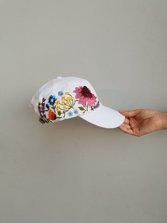 c565aff1362 Hand Embroidered Hat   White Hat   Embroidered Flowers   Baseball Hat   Floral  Embroidered Hat   Cus