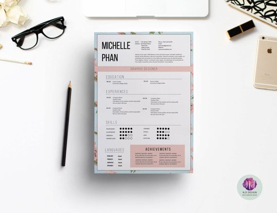 floral cv template cover letter reference by chictemplates