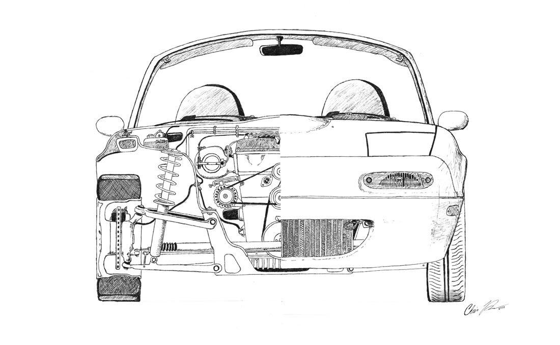 miata cutaway drawing i did  mx5