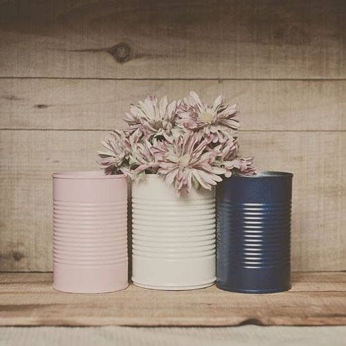 3 Painted Tin Cans Pink And Navy Blue Blush Decoration Can Vase