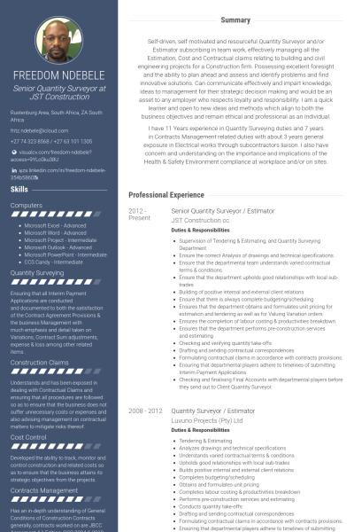 Senior Quantity Surveyor Estimator Resume Example Software Development Free Resume Samples Event Planner Resume