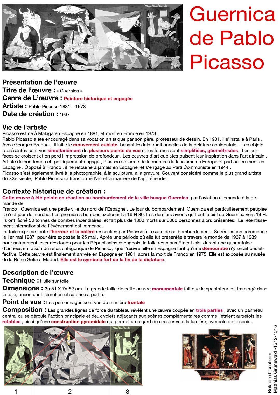 Pablo PICASSO : Guernica (1937) - analyse | Peinture historique, Peinture picasso, Picasso