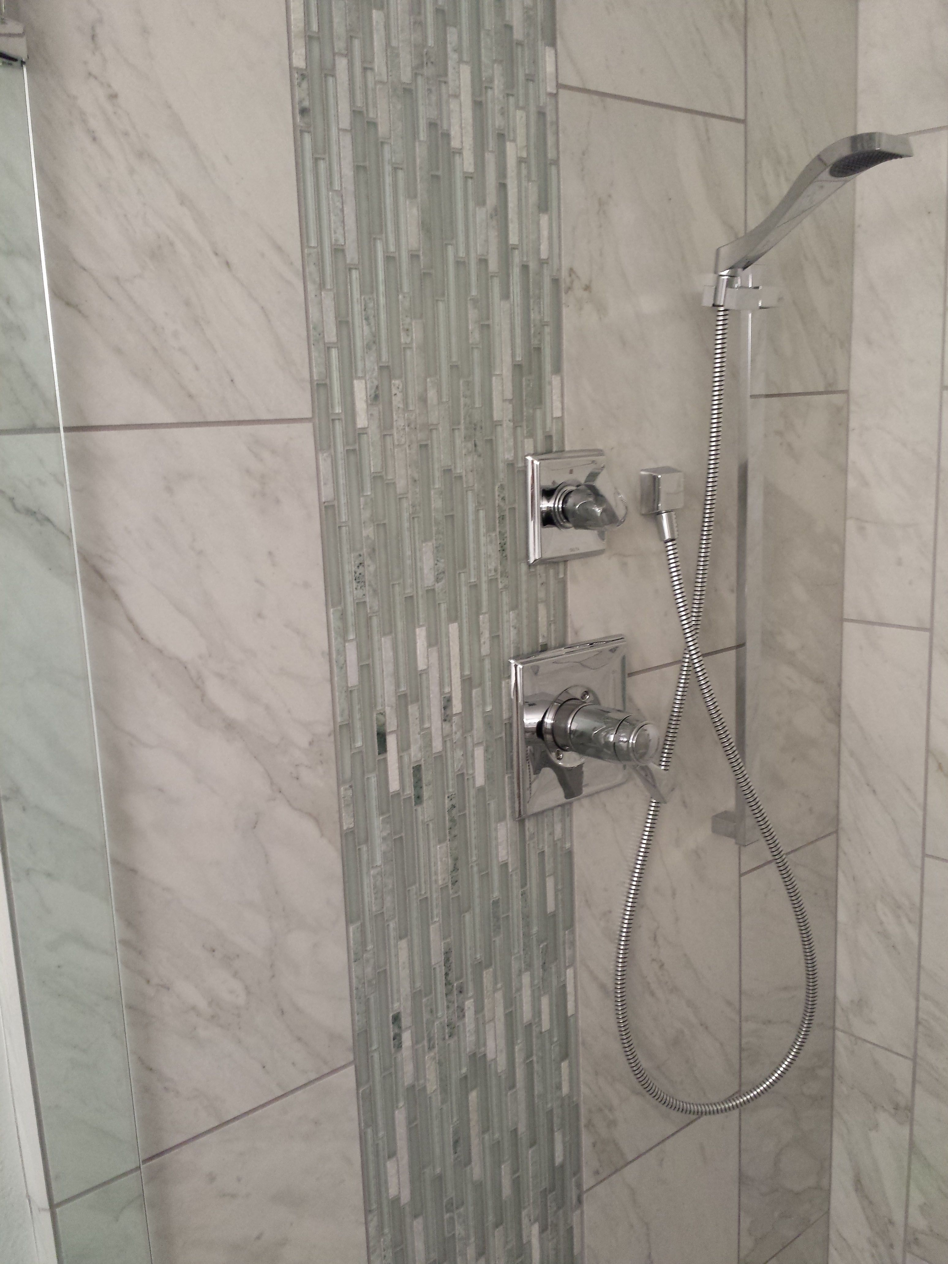 Waterfall Shower Ideas Hall Bath With Porcelain Marble Tile And Vertical Glass