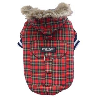 Doggy Dolly Dog Coat Plaid with Hood