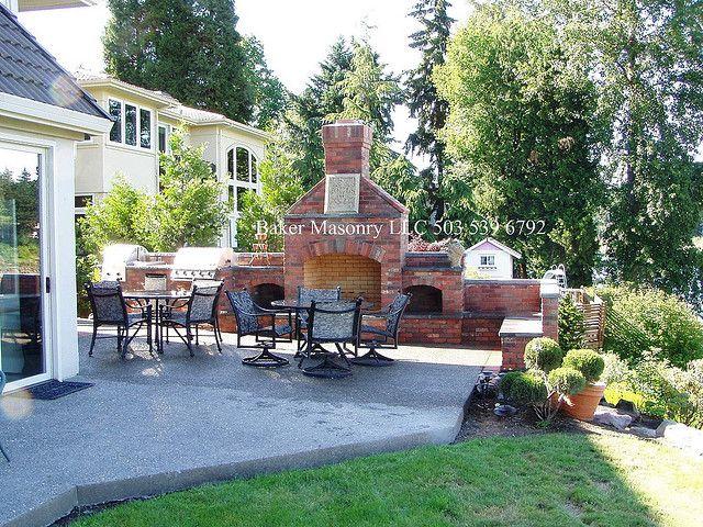 Backyard Brick Fireplace | photo - Outdoor Brick Fireplace With BBQ (Baker Masonry LLC 503 539 6792