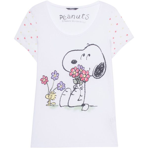 Princess Goes Hollywood Snoopy Flowers White Rhinestone Studded 79 Liked On Polyvore Featuring Tops T Shirts Crew Neck T Shirt White Top Floral T