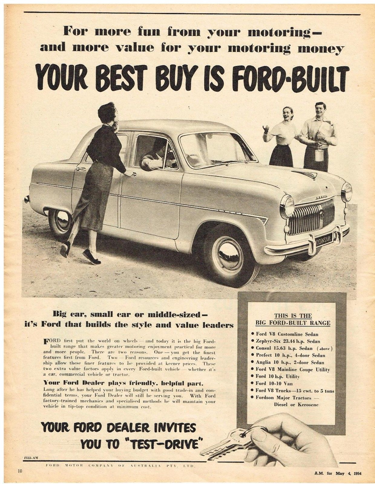 Ssv Original Ford Consul Car Ad Retro Ford 1950 S Vintage