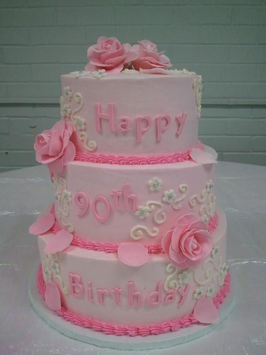 Pink roses 90th birthday cake lynn 39 s creative cakes for 90th birthday cake decoration ideas