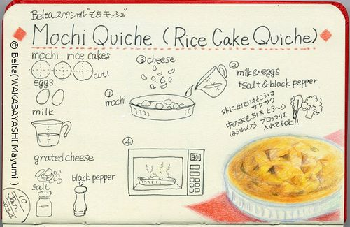 2014_01_09_moch_01_s Mochi quiche It is my original recipe.  for this drawing I used: Faber castell polychromos Holbein artists colored pencil Moleskine sketchbook   © Belta(WAKABAYASHI Mayumi )