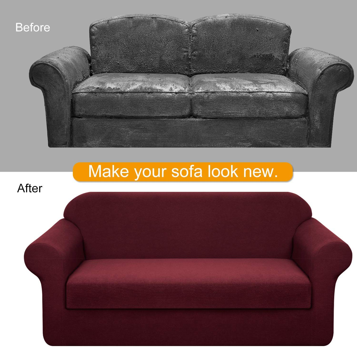 Granbest Stretch Sofa Slipcovers 3 Cushion Couch Covers Water