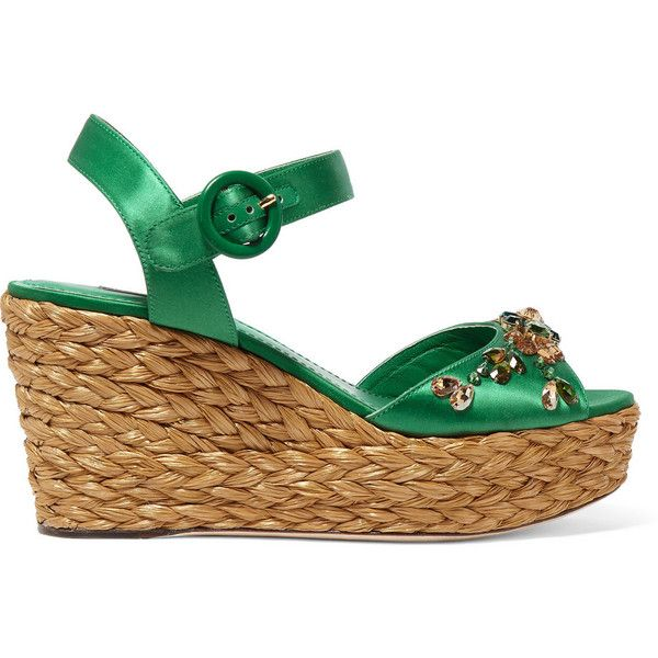 Dolce & Gabbana Embellished satin wedge sandals ($1,065) ❤ liked on Polyvore featuring shoes, sandals, green, platform wedge shoes, sparkly sandals, ankle strap wedge sandals, green sandals and embellished sandals
