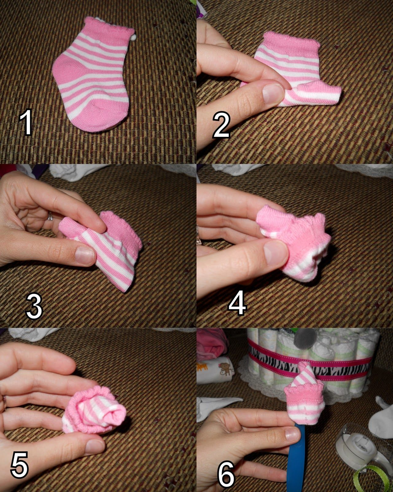 How To Make Baby Sock Roses For Cake