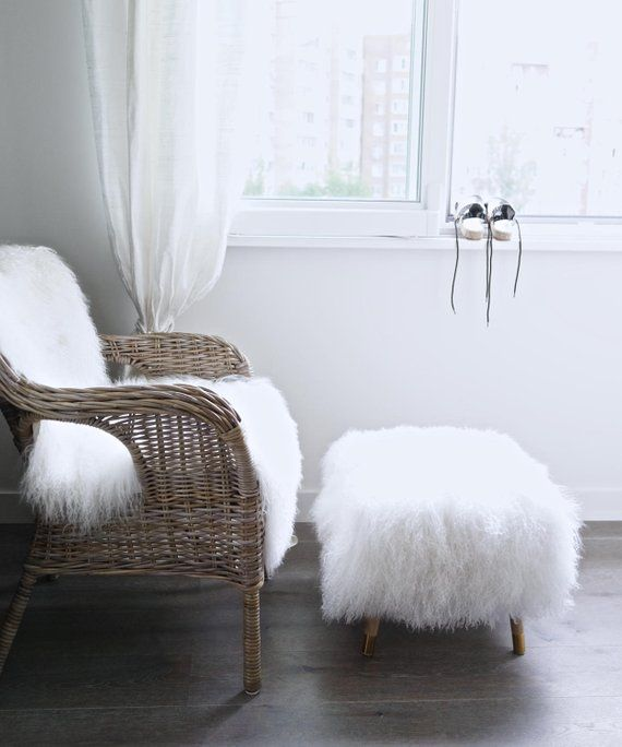 Brilliant Pouf Ottoman Fur Footstool White Mongolian Lamb Fur Short Links Chair Design For Home Short Linksinfo