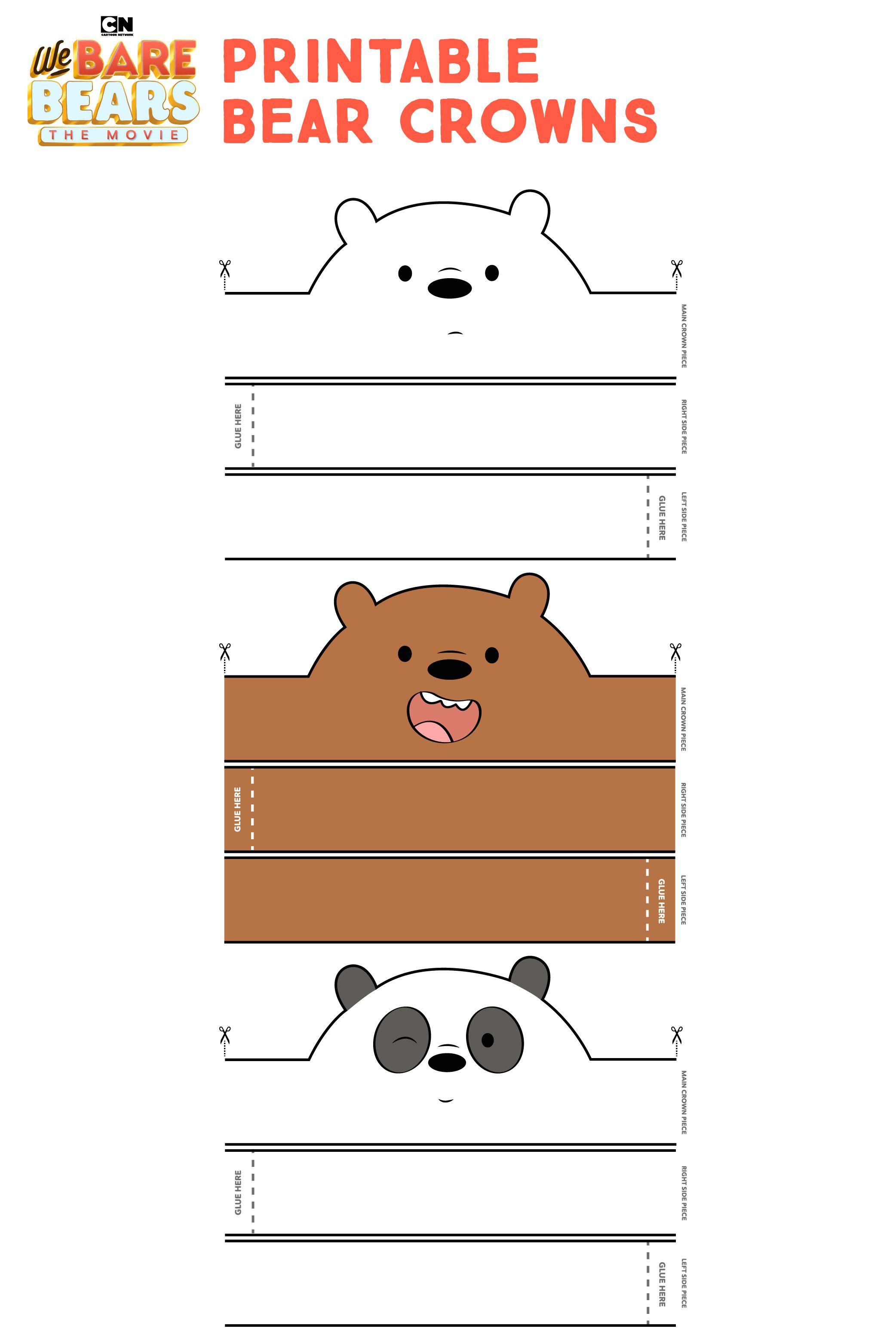 We Bear Bears Printable Bear Crowns We Bare Bears Bear Decorations Party Bare Bears