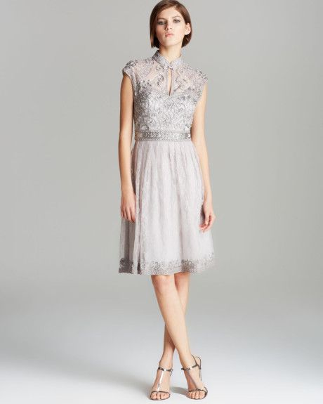 5fd31dd437018 Dress High Neck Mandarin Collar Lace Fit and Flare - Lyst. Sue wong ...