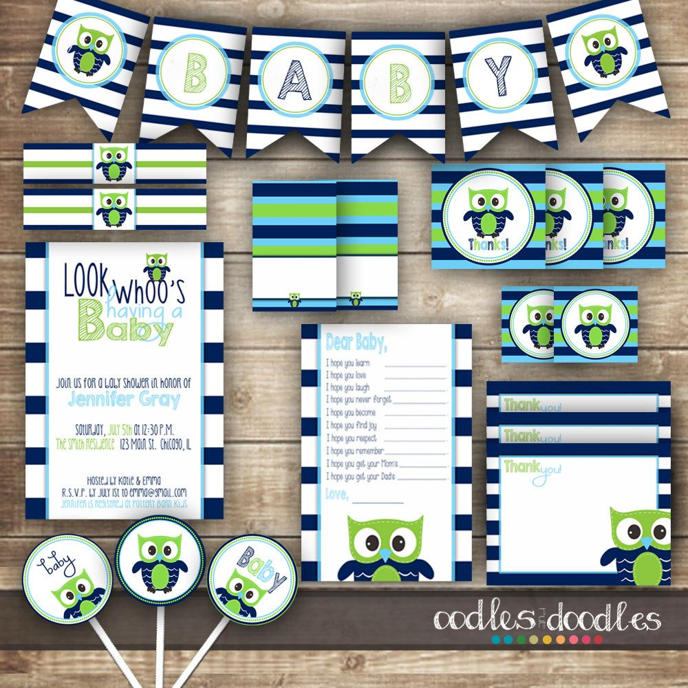 Owl Baby Shower / Navy Lime Green & Turquoise Shower / by OandD