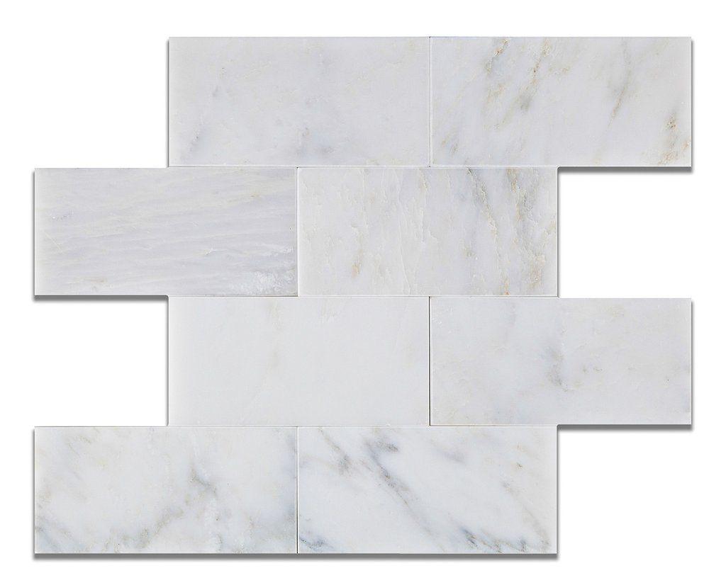 3 X 6 Oriental White Asian Statuary Marble Polished Subway Brick Field Tile Marble Subway Tiles Brick And Stone Subway Tile