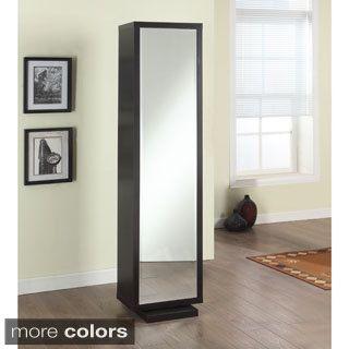 Artiva USA Bella Home Deluxe 71 Inch Merlot Full Length Mirror And Swivel  Cabinet/Shelving Unit