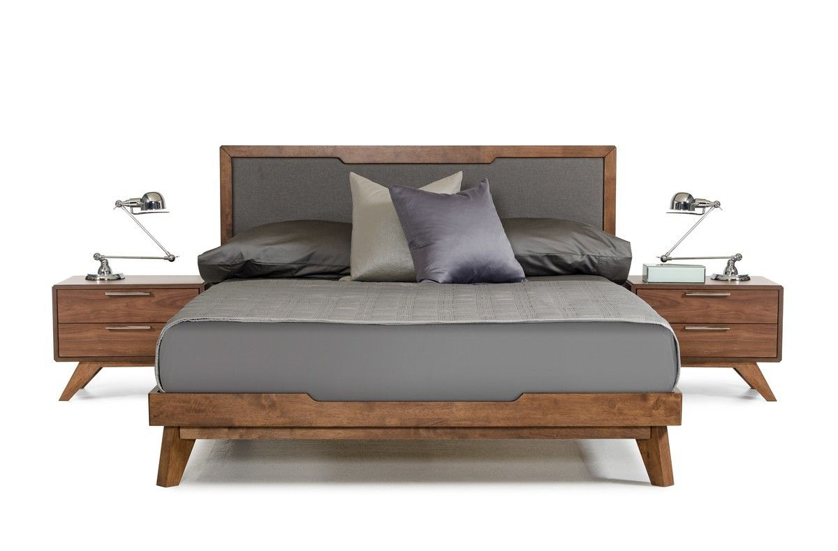 nova domus soria modern grey walnut queen size bed frame warm industrial mid century. Black Bedroom Furniture Sets. Home Design Ideas