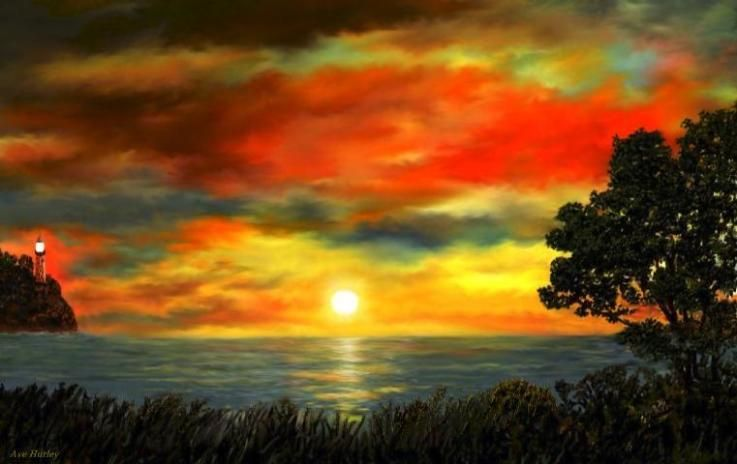 Red Sunset Lighthouse  Digital painting by Ave Hurley