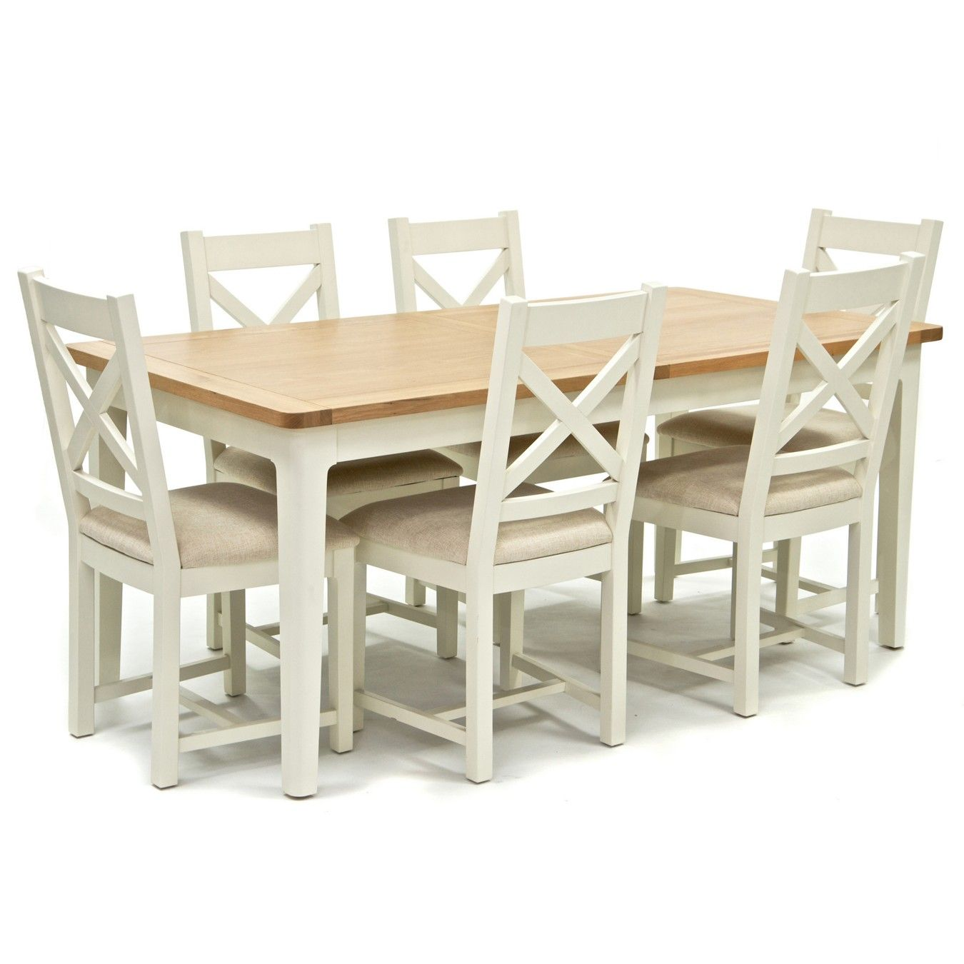 Oak Top Newquay Large Extending Dining Table And 6 Cross Back Dining Chairs With Cream Seats Cross Back Dining Chairs Dining Table Extendable Dining Table