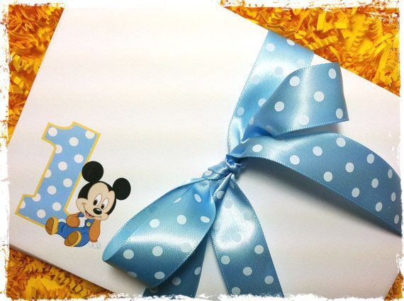 Baby Mickey Mouse Invitation Envelopes Set of 10 A7 Linen 1st – Baby Mickey 1st Birthday Invitations
