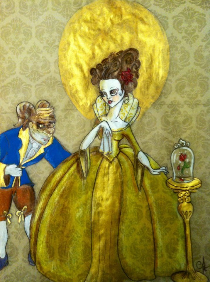 """Alex Ferruzca/ Artist. """"La Belle et La Bete"""" Rococo style Beauty and The Beast. Acrylics and wax pencils on recycled paper."""
